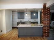 Open Plan Gallery Kitchen - Restored Brick Pillar