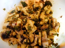 Halloumi and Pesto with Pineapple Mint and Chilli Flakes/Lemon