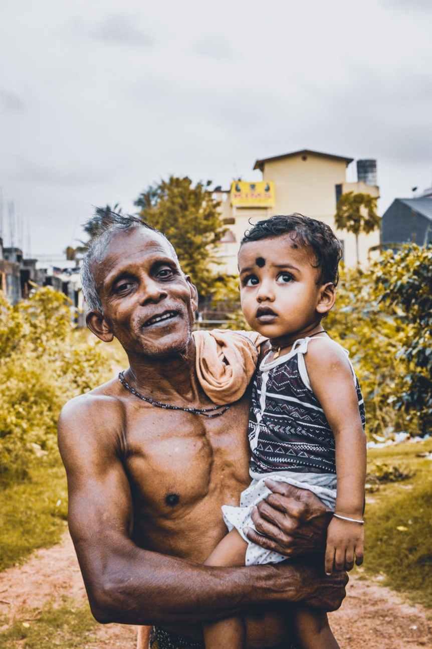 man holding a child