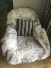My chair at parents with my faux throw