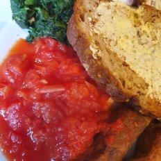 Chilli Tomatoes - Spinach - Veggie Sausage - Soda Bread
