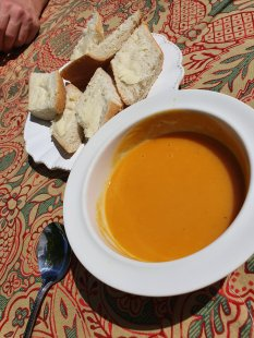 Homemade Butternut Squash soup and crusty bread